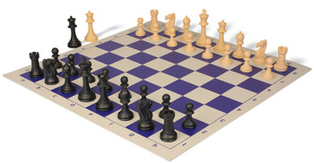 Club Tourney Series Plastic Chess Set with Board Black & Camel Pieces - Blue