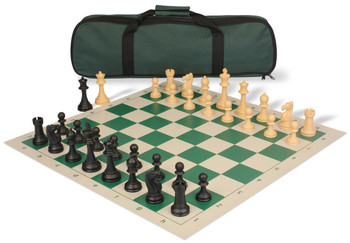 Club Tourney Carry-All Plastic Chess Set Black & Camel Pieces - Green