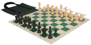Club Tourney Series Easy-Carry Plastic Chess Set Black & Camel Pieces - Green