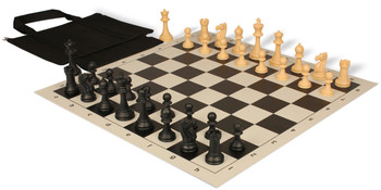 Club Tourney Series Easy-Carry Plastic Chess Set Black & Camel Pieces - Black