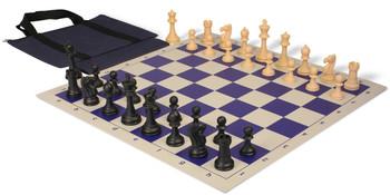 Club Tourney Series Easy-Carry Plastic Chess Set Black & Camel Pieces - Blue