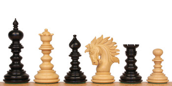 "Strategos Staunton Chess Set in Ebony & Boxwood - 4.25"" King"