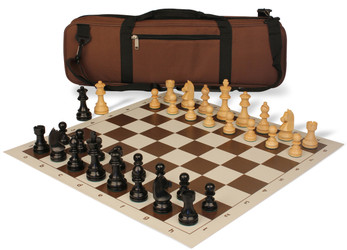 German Knight Carry-All Chess Set Package Ebonized & Boxwood Pieces - Brown