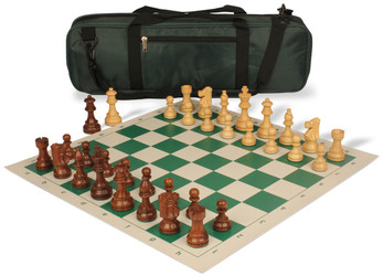 French Lardy Carry-All Chess Set Package Acacia & Boxwood Pieces - Green