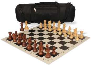 French Lardy Carry-All Chess Set Package Acacia & Boxwood Pieces - Black