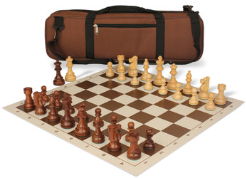 French Lardy Carry-All Chess Set Package Acacia & Boxwood Pieces - Brown