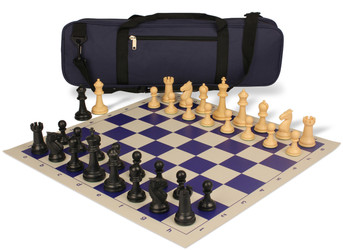 Guardian Carry-All Plastic Chess Set Black & Camel Pieces - Blue