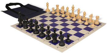 Guardian Easy-Carry Plastic Chess Set Black & Camel Pieces - Blue