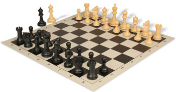 Guardian Plastic Chess Set with Board Black & Camel Pieces - Black