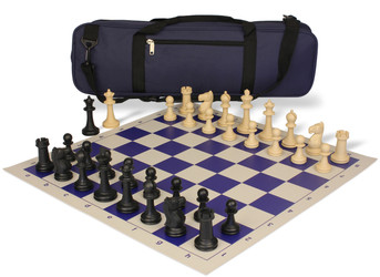 Park Game Carry-All Plastic Chess Set Black & Sandal Pieces - Blue