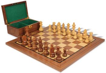 "German Knight Staunton Chess Set in Acacia & Boxwood with Walnut Board & Box - 3.75"" King"