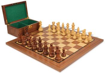 "French Lardy Staunton Chess Set in Acacia & Boxwood with Walnut Board & Box - 3.75"" King"