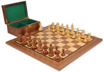 "Fierce Knight Staunton Chess Set in Acacia Wood & Boxwood with Walnut Board & Box - 3.5"" King"