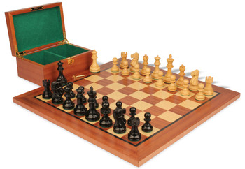"""Deluxe Old Club Staunton Chess Set in Ebonized & Natural Boxwood with Mahogany Board & Box - 3.75"""" King"""