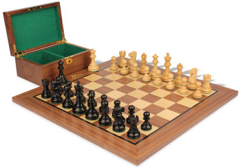 """Deluxe Old Club Staunton Chess Set in Ebonized & Natural Boxwood with Walnut Board & Box - 3.75"""" King"""