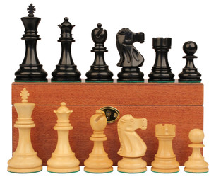 """Deluxe Old Club Staunton Chess Set in Ebonized & Natural Boxwood with Mahogany Box - 3.75"""" King"""