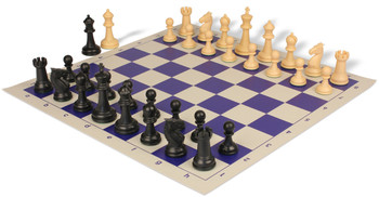 Guardian Plastic Chess Set with Board Black & Camel Pieces - Blue