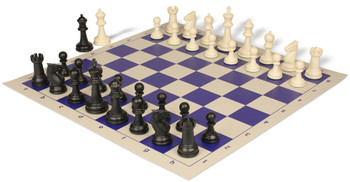 Guardian Plastic Chess Set with Board Black & Ivory Pieces - Blue