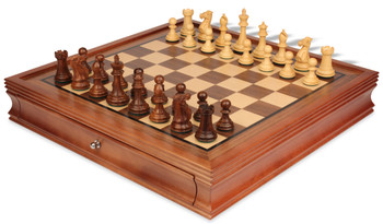 """New Exclusive Staunton Chess Set in Acacia & Boxwood with Walnut Chess Case - 3"""" King"""
