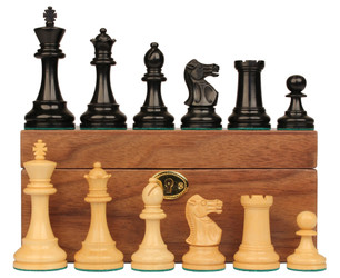 "British Staunton Chess Set in Ebony Boxwood & Boxwood with Walnut Box - 4"" King"