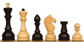 """Russian Playing Set Antique Repro Chess Set Ebonized Boxwood & Boxwood  - 4.3"""" King"""