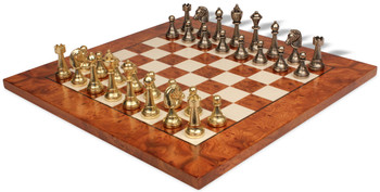 Brass & Nickel Staunton Chess Set with Elm Burl & Erable Chess Board