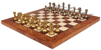 Minature Brass & Nickel Staunton Chess Set with Elm Burl & Erable Chess Board