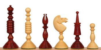 Circa 1800 English Turned Antique Reproduction Chess Set Padauk & Boxwood Pieces