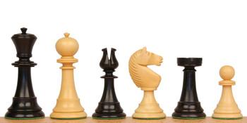 English Upright Antique Repro Chess Set Ebonized Boxwood & Boxwood