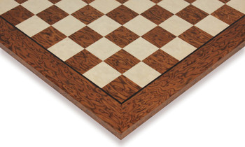 "Brown Ash Burl & Erable High Gloss Deluxe Chess Board - 2"" Squares"