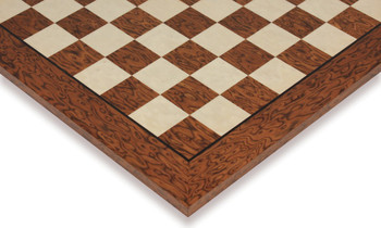 "Brown Ash Burl & Erable High Gloss Deluxe Chess Board - 2.375"" Squares"