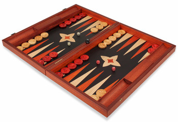 Manopoulos Padauk & Black Wood Backgammon Set - Large