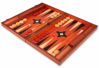 Manopoulos Padauk Wood Backgammon Set- Large