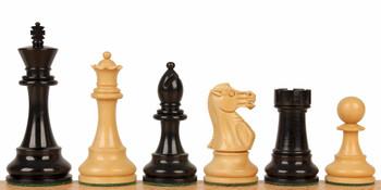 "British Staunton Chess Set Ebonized & Boxwood Pieces 3"" King"