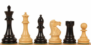 "British Staunton Chess Set in Ebony & Boxwood - 3"" King"