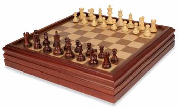 "British Staunton Chess Set in Rosewood & Boxwood with Walnut Chess & Backgammon Case - 3"" King"