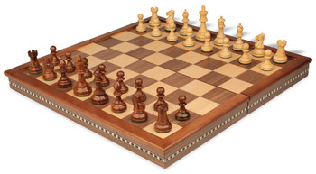 "British Staunton Chess Set in Golden Rosewood & Boxwood with Walnut Folding Chess Case - 3"" King"