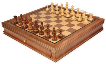 "British Staunton Chess Set in Golden Rosewood & Boxwood with Walnut Chess Case - 3"" King"