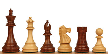 "British Staunton Chess Set in Golden Rosewood & Boxwood - 3.5"" King"