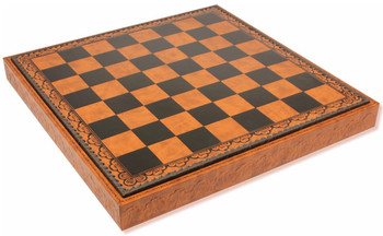 "Brown & Black Leatherette Chess Case - 2"" Squares"