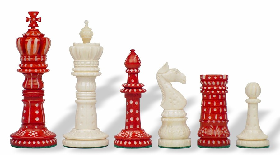 Crowned domed decorative bone chess pieces the chess store - Ornamental chess sets ...