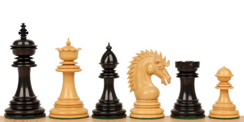 "Cyrus Staunton Chess Set in Ebony & Boxwood - 4.4"" King"