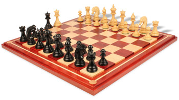 "Cyrus Staunton Chess Set Deluxe Chess Set  Package in Ebony & Boxwood with Maple Solid Wood Chess Board- 4.4"" King"