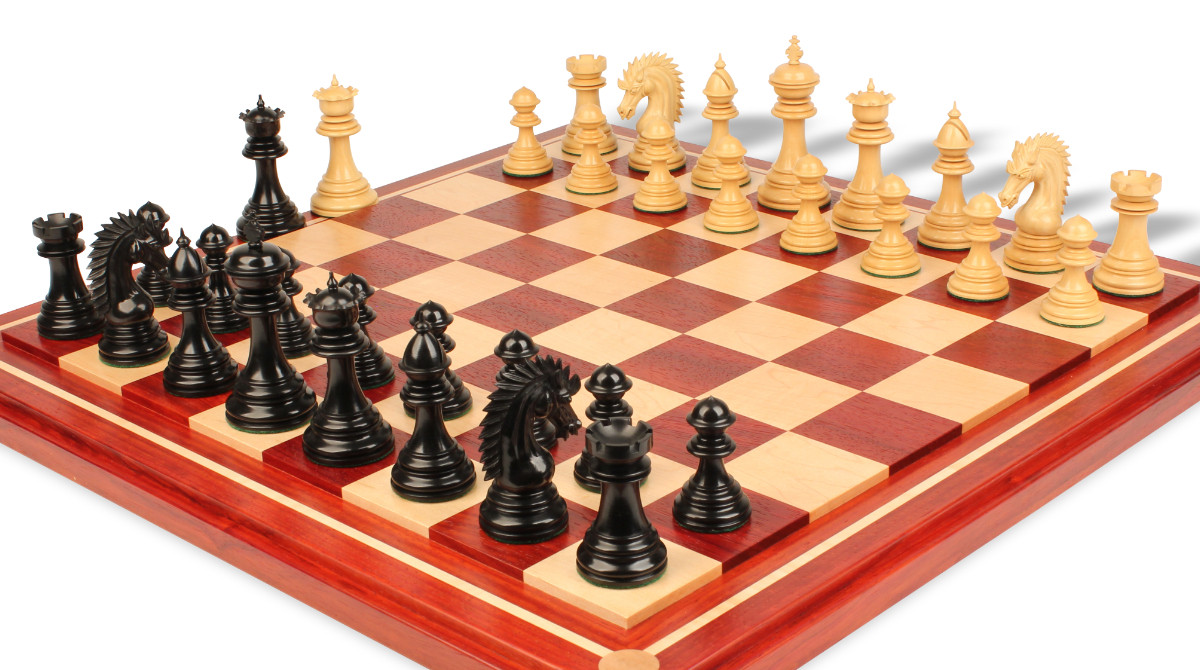 Cyrus staunton chess set deluxe chess set package in ebony boxwood with maple solid wood chess - Deluxe chess sets ...