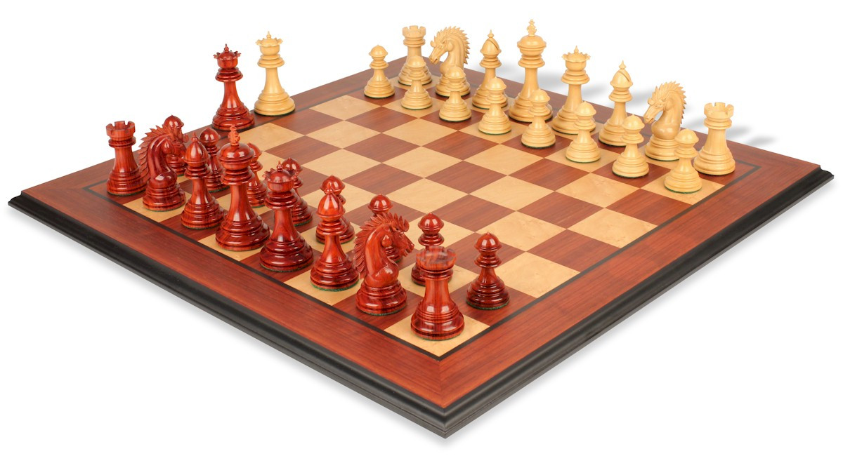Cyrus staunton deluxe chess set package in african padauk boxwood 4 4 king the chess store - Deluxe chess sets ...