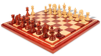 "Cyrus Staunton Deluxe Chess Set Package in African Padauk & Boxwood with Maple Solid Wood Chess Board- 4.4"" King"