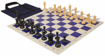 Deluxe Club Easy-Carry Chess Set Package Black & Camel Pieces - Blue