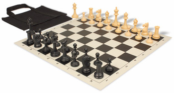 Deluxe Club Easy-Carry Chess Set Package Black & Camel Pieces - Black