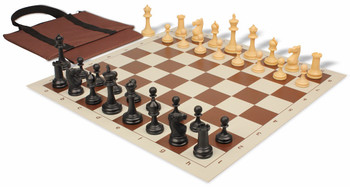 Deluxe Club Easy-Carry Chess Set Package Black & Camel Pieces - Brown