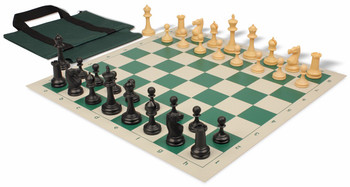 Deluxe Club Easy-Carry Chess Set Package Black & Camel Pieces - Green